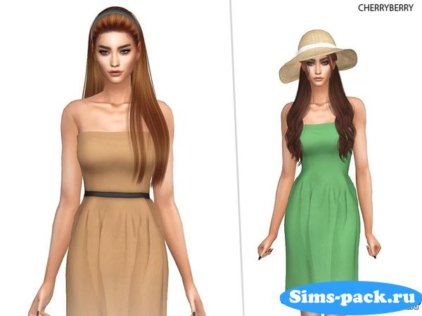 Платье Earth Tones от CherryBerrySim для Симс 4